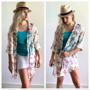 Tops - Floral Kimono White Pink Blue Green Tie Front S